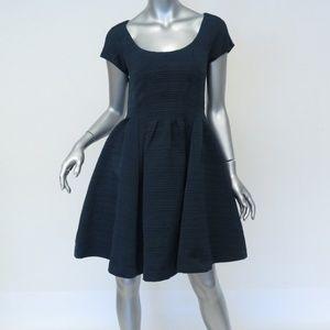 Zac Posen Dress Navy Jacquard Size 4 Cap Sleeve